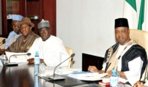 L-R: Solicitor General of the Federation, Abdullahi Yola, Permanent Secretary, Ministry of Power, Dr Godknows Igali, Minister of Transport, Senator  Idris Umar and  Vice  President Namadi Sambo at the Joint Meeting of NCP with the Governing Board of  Niger Delta Power Holding Company Limited in Abuja, recently.