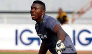 Sharks goalkeeper, Danladi Isah in action during  last Saturday's  Premier League match in Port Harcourt.