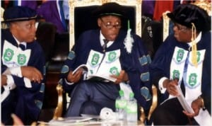 Visitor to Rivers State University of Science and Technology (RSUST) and Governor of the state, Rt Hon Chibuike Amaechi (middle) exchanging views with Pro-Chancellor of the university, Hon Justice Adolphus Karibi-Whyte (right) and Vice Chancellor, Prof Barineme Fakae at the 26th convocation of the institution in Port Harcourt, last Saturday. Photo:Donatus Ken Nwiueh