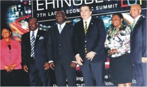 L-R: Lagos State Deputy Governor, Mrs Adejoke Orelope-Adefulire, Gov. Ibikunle Amosun of Ogun State, Gov. Babatunde Fashola of Lagos State, Former President of Georgia, Mr Mikheil Saakashvill, Chief Executive Officer, Standard Chartered Bank, Mrs  Bola Adesola and Lagos State Commissioner for Budget and Economic Planning, Mr Ben Akabueze at the 7th Lagos Economic Summit Tagged 'ehingbeti 2014' in Lagos last Tuesday.     Photo: NAN