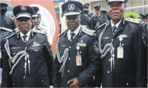 L-R: Commissioner of Police, Mr Okeke Godfrey; Commandant, Police Staff College Jos, Mr Bala Hassan and Coordinator of Courses, Police Staff College  Jos, Mr Jibrin Yakubu, during the graduation of the Police Advanced Detective  Course 60/2014 in Jos, yesterday