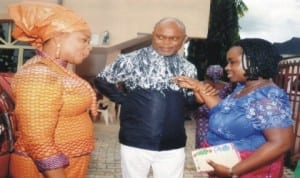 Commissioner for Commerce and Industry, Mr Chuma Chienye (middle), chatting with his Permanent Secretary and founder, Brown's Opharnage Home, Ms Kadilo Brown (left) and Chairman, Rivers State Internal Revenue Service, Onene Osila Obele Oshoko during the One Year Anniversary/Thanksgiving Service of Brown's Orphanage Home, at Breakthrough Ministry, Eliozu, Port Harcourt, last Sunday.
