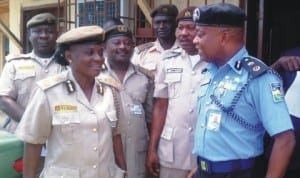 Comptroller, Nigerian Immigration Services, Apapa Port, Mrs Taiwo Olayemi, Commissioner, Lagos Ports Authority Police Command, Mr Kayode Aderanti (right) and other officials during a visit by the Police Commissioner to the immigration office, Apapa Port last Wednesday.