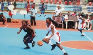 Volleyball players in action during a national tournament in Port Harcourt, Rivers State, recently.