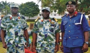 L-R:  Executive Officer, NNS Pathfinder, Capt. Sam  Bura,  Commander, Commodore Godwin Ochai and  Deputy Commandant and Head of Operations, Nigeria Security and Civil Defence Corps (NSCDC),  Rivers State, Mr Olowoyotan Bamidele,  during  hand over of 7 suspects and 250 drums  of illegally refined  diesel to NSCDC  in Port Harcourt, recently.