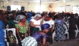 Worshipers of Ascension Apostolic Church, Ahiamakara, Port Harcourt, celebrating the Resurrection of Jesus Christ (Easter Sunday) at the church auditorium, yesterday.