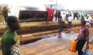 Scene of a petrol tanker accident at Uselu in Benin City, recently.