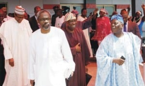 L-R: Former Military Head of State, General Muhammadu Buhari, House of Representatives Minority Leader, Mr Femi Gbajabiamila, APC Interim National Chairman, Chief Bisi Akande, at the Ilorin International Airport during their way back from Ogbomoso where former Governor of Lagos State, Chief Bola Tinubu was made Chancellor of Ladoke Akintola University of Technology last Wednesday.