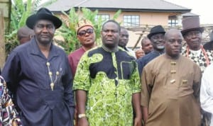 Rivers State Deputy Governor, Tele Ikuru (middle), Senator Magnus Abe (left) and Commissioner for Works, Victor Giadom (right), shortly after a function at Ikuru Town in Andoni LGA of the state, recently.