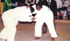 Women Judokas struggling for honours during a national event in Port Harcourt, Rivers State, recently.