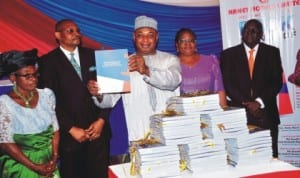 From Left: Founder, Nanet Hotels, Chief Nancy Akpabio, Author of Hospitality Management Practices in Nigeria, Mr Ini Akpabio, Representative of the Minister of Culture, Tourism and National Orientation, Dr Paul Adalikwu, Commissioner, Federal Character Commission, Chief Margaret Icheen, Co-author of the book, Mr Denis Orjime and a  Fct High Court Judge, Justice Folasade Ojo, at the official launch of Hospitality Management Practices in Nigeria in Abuja last Thursday. Photo: NAN