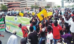 Members of the National Association of Nigerian Students in a rally to support the transformation in the petroleum sector in Abuja, recently. Photo: NAN