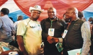 Member, House of Representatives, Hon. Morris Propnen (middle), having a handshake with Chief of Staff, Oyigbo Local Government Area, Hon. Innocent Ajaelu (right). With them is chairman, KAGOTE , Dr Peter Medee (left) during the APC State congress, last Saturday. Photo: Chris Monyenaga.