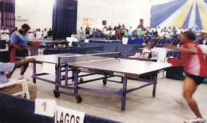 Table Tennis players in action during a national event in Port Harcourt, Rivers State, recently.