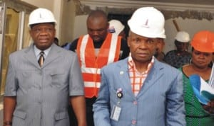 L-R: Minister of Power, Prof. Chinedu Nebo, Director-General, National Power Training Institute of Nigeria (NAPTIN), Mr Rueban Okeke and the Special Assistant to the Minister on Communication, Kande Daniel, during an inspection of projects at NAPTIN  permanent site in Idu, Abuja.