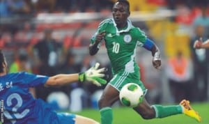 Flying Eagles Captain, Omo Ojabu celebrating a goal during one of the team's international encounters recently