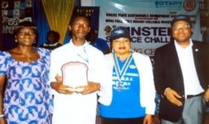 The Winner, Einstein Science Challenge, Onyenaucheya Chimdiukwu ( 2nd left), with his mother, Mrs Rita Onyenaucheya (left), President, Rotary Club of Port Harcourt, GRA, Rtn. Mediline Tador (2nd right) and Executive Director, RSSDA, Mr. Noble Pepple, during the science exhibition/closing ceremony of Einstein Science Challenge Season Two, organised by Rotary Club of Port Harcourt, GRA and RSSDA  in Port Harcourt recently. Photo: Egberi .A. Sampson