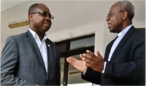 Chairman, newly reconstituted Rivers State Sustainable Development Agency Board, Rev Precious Omuku (right) conferring with Executive Director, RSSDA, Noble Pepple shortly after the screening and clearing of the board by the state House of Assembly in Port Harcourt, last Monday. Photo: Chris Monyanaga