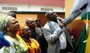 L-R: Lagos Stae Commissioner for Education, Mrs Olayinka Oladunjoye, Secretary to State Government, Dr  Ranti Adebule, Commissioner for  Health, Dr Jide Idris and Governor Babatunde Fashola, inaugurating Lagos State Expanded School Eye Health Programme in  Lagos, recently. Photo: NAN