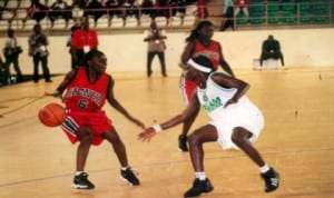 Basketball players in action during a continental encounter in Port Harcourt, recently.