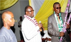 L-R: Director-General, Enugu Chamber of Commerce, Industry, Mines and Agriculture (ECCIMA), Sir Emeka Okereke, Vice President Works, ECCIMA, Mr Nonye Osakwe and Ebonyi State Commissioner for Commerce, Dr Ifeanyi Ikeh, during a reception for Ebonyi State for participating in the on-going 25th Enugu International Trade Fair, recently.