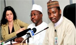 L-R: Head, Population and Nutrition Office, USAID, Dr Nancy Lowenthal, Acting Director, Disease Control and Immunisation, National Primary Health Development Agency (NPHCDA), Dr  Adamu Nuhu and NPHCDA Executive Director, Dr Ado Muhammad, at a news conference on 2014 Africa Vaccination Week in Abuja, yesterday