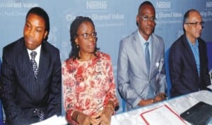 L-R: Corporate Affairs Manager, Nestle Nigeria Plc, Dr Samuel Adenekan, Marketing Service Director, Mrs Iquo Ikoh, Head of Nutrition Division, Federal Ministry of Health, Dr Chris Isokpuninu and Managing Director, Nestle Nigeria Plc, Mr Dharnesh Gordhon, at the  Nestle's Creating Shared Value Media Workshop in Lagos last Wednesday. Photo: NAN