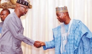 Governor Liyel Imoke of Cross River State (left), welcoming the Director-General, National Institute for Policy and Strategic Studies (Nipss), Prof. Tijani Mohammed-Bande, who led participants of the Institute's Course 36 on a courtesy visit to the Government House in Calabar last Tuesday. Photo: NAN