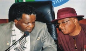 President, PHCCIMA, Engr Emeka Unachukwu (left) having a chat with former PHCCIMA  president , Dr Vincent Furo (right), during PHCCIMA council meeting, recently.