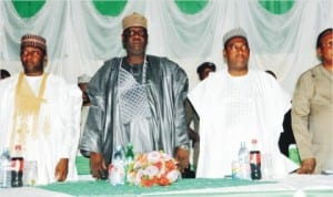 L-R: Secretary to Bauchi State Government, Alhaji Aminu Hammayo, Deputy Governor, Alhaji Sagir Saleh, Minister of Works/Supervising Minister of National Planning, Ambassador Bashir Yuguda and Secretary, National Planning Commission, Mr Ntufam Ugbo, during a Joint Planning Board (JPB) and National Council on Development Planning (NCDP) meeting in Bauchi, recently.