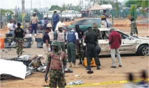Security personnel  at the scene of Nyanya explosion in Abuja, last Friday