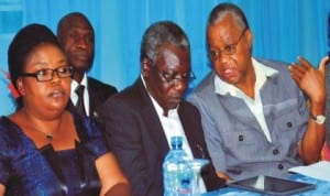 L-R:  Dr Elizabeth Eterigho of Federal University of Technology Minna, Mr Alex Nenyin,  Gacmork Nigeria Ltd  and retired Prof. Robert Ebewele, Department of Chemical Engineering, University of  Benin, at the ptdf 2nd annual oil and gas research grant competition close-out seminar 2014 in  Abuja, recently. Photo: NAN