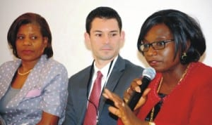 L-R: World Bank Country Director, Marie Francoise Marie-Nelly; World Bank Economist, Matthew Morton, and Special Adviser to the Minister of  Finance, Dr Chika Akporji, at the presentation of gender at work in Abuja last Tuesday. Photo: NAN