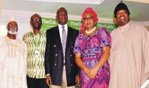 From Left: Former Head of State, General Abdusalami Abubakar, Chief Executive Officer, Thecable Online Newspaper, Mr Simon Kolawole, Governor Babatunde Fashola of Lagos, Chairman, Senate Committee on Navy, Senator Chris Anyanwu and publisher of Thisday Newspapers, Mr Nduka Obaigbena, at the inauguration of Thecable Online Newspaper in Lagos last Tuesday. Photo: NAN