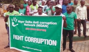 Members of Niger Delta Anti-corruption Network protesting against corruption in Benin City recently. Photo: NAN