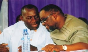 Permanent Secretary, SSG's Office, Sovens Okari (left), discussing with Chairman, Port Harcourt City Local Government Area, Hon. Chimbiko Akarolo, during an inter-school debate for schools in Port Harcourt City, recently. Photo: Price Dele Obinna