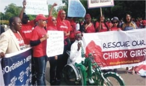 'Bring Back Our Girls' Group demanding immediate rescue of abducted Chibok School Girls in Abuja, yesterday
