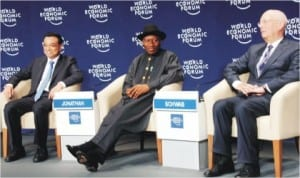 L-R: Chinese Prime Minister, Mr Li Keqiang, President Goodluck Jonathan and the Founder/Executive Chairman, World Economic Forum, Prof Klaus Schwab, at the opening of 2014 World Economic Forum on Africa in Abuja, yesterday