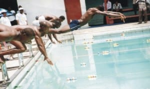 Swimmers struggling for honours during a national event in Port Harcourt, Rivers State recently. Photo: Chris Monyanaga