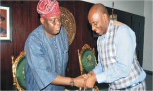 Governor Chibuike Rotimi Amaechi welcomes Senator Olugbenga Obadara, Chairman, Senate Committee on Privatization during a courtesy visit to Government House, Port Harcourt.