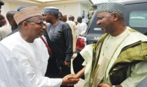 L-R: FCT Minister, Senator Bala Mohammed (left), welcoming Vice President Namadi Sambo, during the three-day prayer for the late mother of FCT Minister, in Bauchi last Saturday.