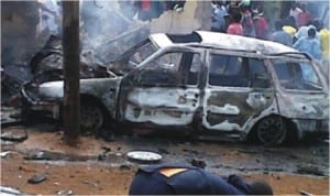 One of the burnt cars during yesterday's Muslims, Christians clash in Kaduna State