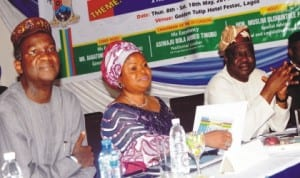 L-R: Governor Babatunde Fashola of Lagos State, Deputy Governor, Mrs Adejoke Orelope-Adefulire and Speaker, Lagos State House of Assembly, Mr Kuforiji  Adeyemi, at the 11th Lagos Executives and Legisative Parley in Lagos, recent.