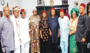 Abia State Governor Theodore Orji (middle), Chairman, Igbo Leaders of Thought, Prof. Ben Nwabueze (4th-right) and others, during a courtesy visit by Igbo Leaders of Thought to Abia State Government House in Umahia, last Sunday.