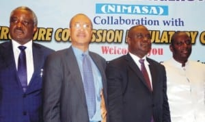 L-R: Chairman, Board of Directors, Oil and Gas Free Zone Authority, Mr Chris Asoluka, Guest  Speaker, Prof. Pat Utomi, Representative of Minister of Transport, Mr Oqua Eta and Director-General, Nigerian Maritime Administration and Safety Agency (NIMASA), Mr Patrick  Lokemi, at the national workshop on Public-Private Partnership Strategy for Infrastructural Development and Modernisation in the Nigerian maritime sector in Lagoslast Monday.