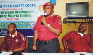 L-R: Federal Road Safety Commission Zonal Commander, RS9HQ, Mr Kehinde Adeleye, Enugu State Sector Commander, Mr Fumibi Olawoyin and representative of FRSC Academy, Mr Victor Jegede, at the training for accidents emergency management in Enugu, recently.