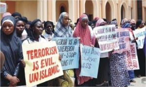 Christian and Muslim ladies in a peaceful protest over the abduction of Chibok School Girls in Bauchi on Monday.