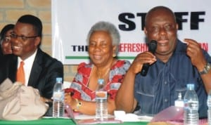 L-R:Resident Electoral Commissioners for Cross Rivers State, Mr Mike Igini; Akwa Ibom, Mrs Thelma Iremiren and Rivers State, Mr Aniedi Ikoiwak, at a retreat for Management and Operational Staff of Rivers INEC  in preparation for 2015 general election at Tai Local Government Area of Rivers State, yesterday