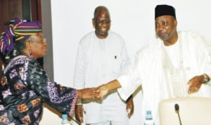 L-R: Minister of Finance, Dr Ngozi Okonjo-Iweala, former Head of Civil Service of the Federation, Mr Stephen Oronsaye and Vice President Namadi Sambo, during the meeting of Financial Action Task Force Committee in Abuja last Friday.
