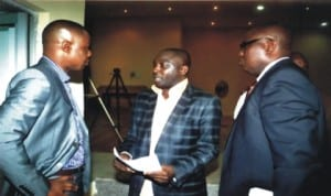 Sole Administrator, Rivers State Environmental Sanitation Authority (RSESA), Mr Ade Adeogun (left), with Director, Administration, Mr Ian Gobo (right) and Media Officer, Mr Ige Olalekan, during a one-day workshop for Head Teachers of Public Primary Schools in Port Harcourt, Obio/Akpor, Eleme, Ikwerre and Oyigbo Local Government Areas, organised by RSESA in Port Harcourt, last Thursday.
